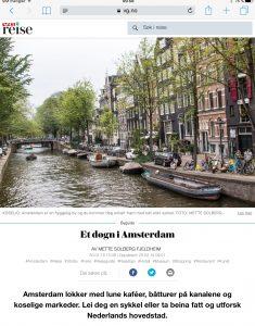 Reiseartikkel om Amsterdam i VG_Levert av Mette S. Fjeldheim - Reiselykke