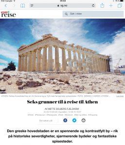 Reiseartikkel om Athen i VG_Levert av Mette S. Fjeldheim - Reiselykke