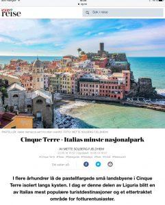 Reiseartikkel om Cinque Terre i VG_Levert av Mette S. Fjeldheim - Reiselykke
