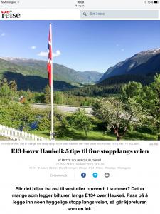 Reiseartikkel om E134 i VG_Levert av Mette S. Fjeldheim - Reiselykke