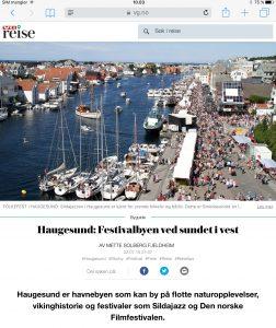 Reiseartikkel om Haugesund i VG_Levert av Mette S. Fjeldheim - Reiselykke