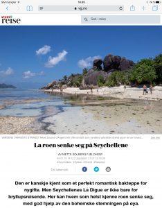 Reiseartikkel om La Digue på Seychellen i VG_Levert av Mette S. Fjeldheim - Reiselykke