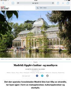 Reiseartikkel om Madrid i VG_Levert av Mette S. Fjeldheim - Reiselykke