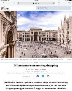 Reiseartikkel om Milano i VG_Levert av Mette S. Fjeldheim - Reiselykke
