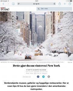 Reiseartikkel om New York i VG_Levert av Mette S. Fjeldheim - Reiselykke