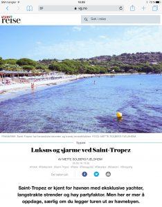 Reiseartikkel om Saint-Tropez i VG_Levert av Mette S. Fjeldheim - Reiselykke