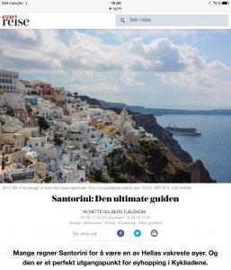 Reiseartikkel om Santorini i VG_Levert av Mette S. Fjeldheim - Reiselykke