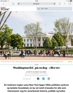 Reiseartikkel om Washington DC i VG_Levert av Mette S. Fjeldheim - Reiselykke