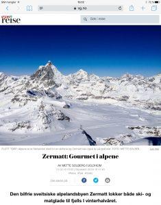 Reiseartikkel om Zermatt i VG_Levert av Mette S. Fjeldheim - Reiselykke