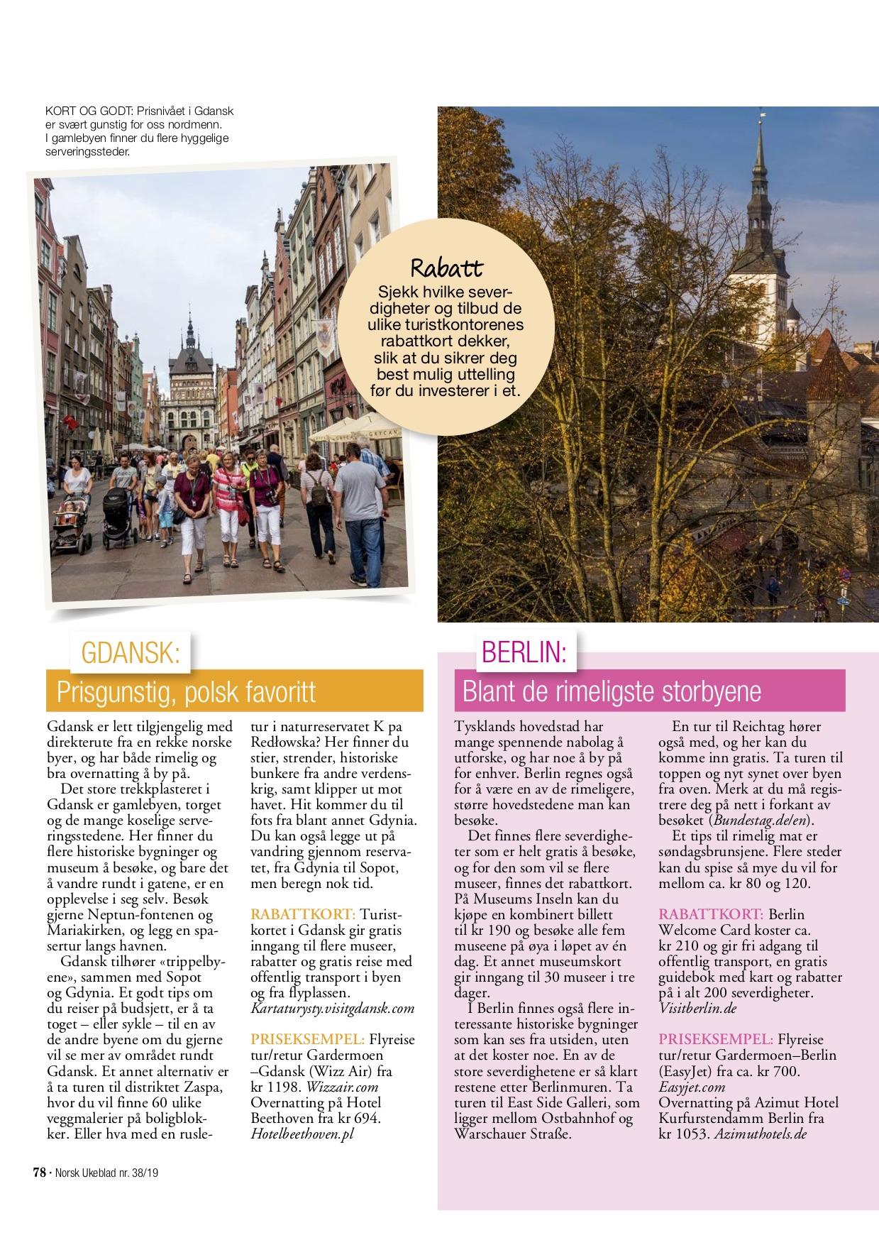 5 rimelige storbyreiser i Norsk Ukeblad, levert av Reiselykke