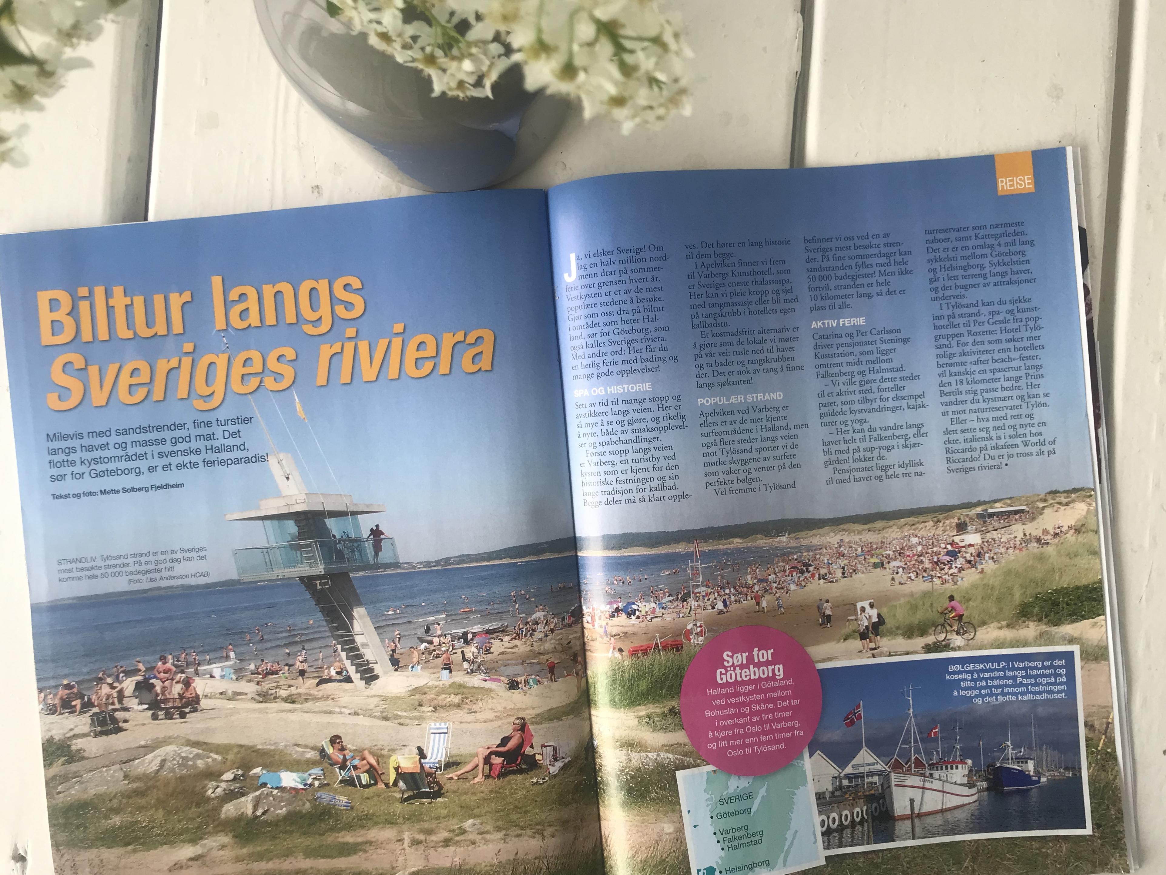 Reiseartikkel om Halland i Norsk Ukeblad s. 1 og 2