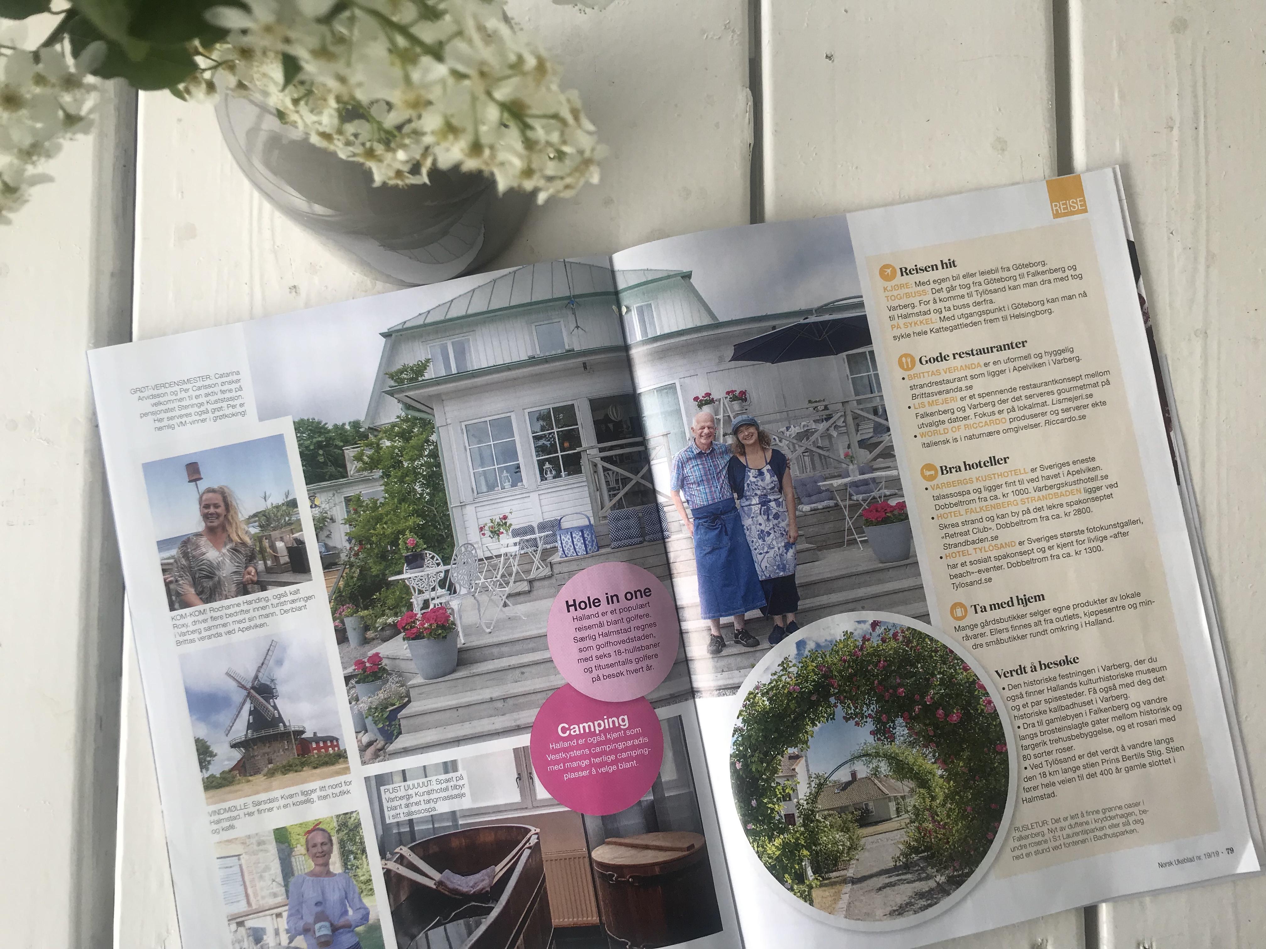 Reiseartikkel om Halland i Norsk Ukeblad s. 3 og 4