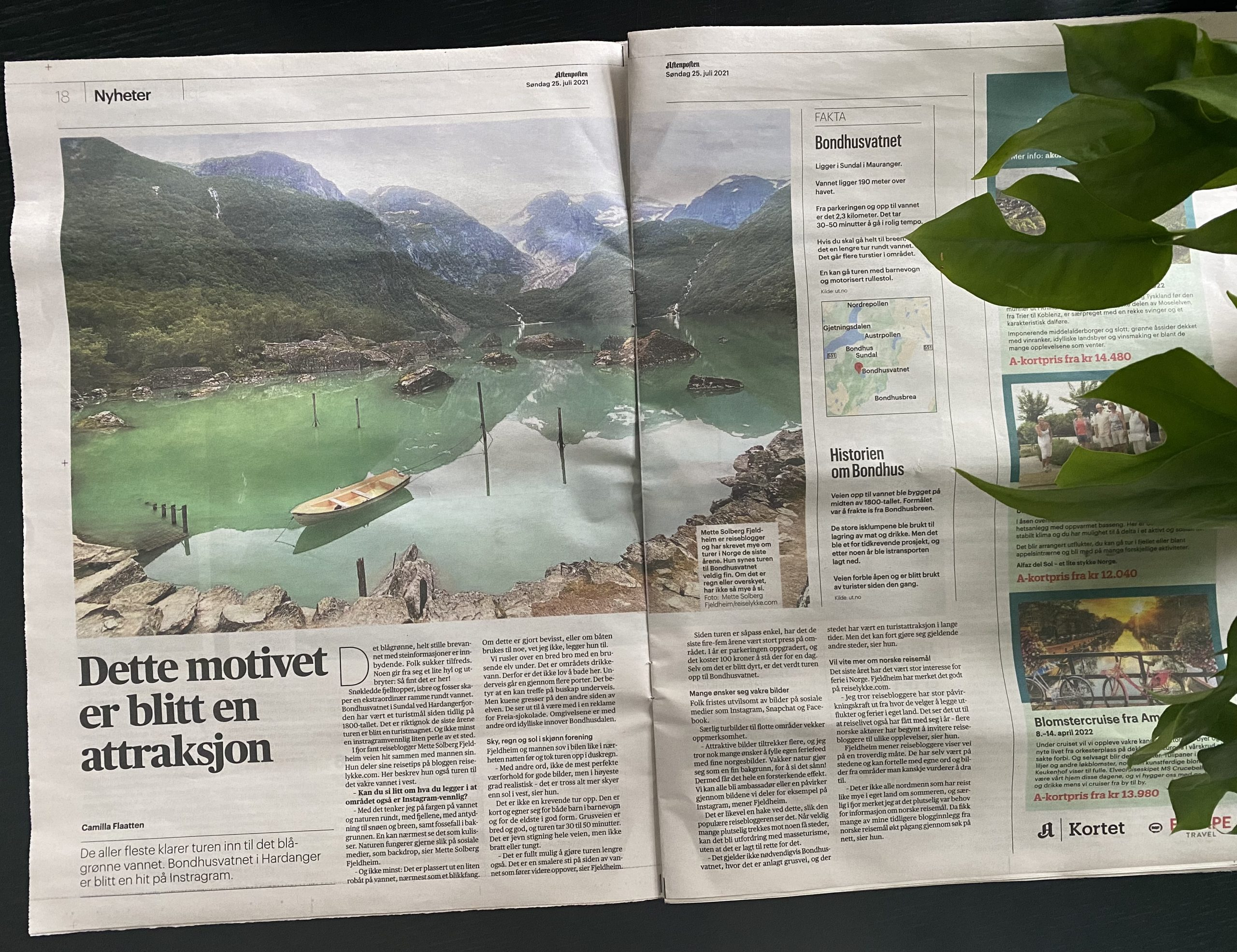 Reiselykke i Aftenposten. Mette S. Fjeldheim intervjuet om Bondhusvatnet