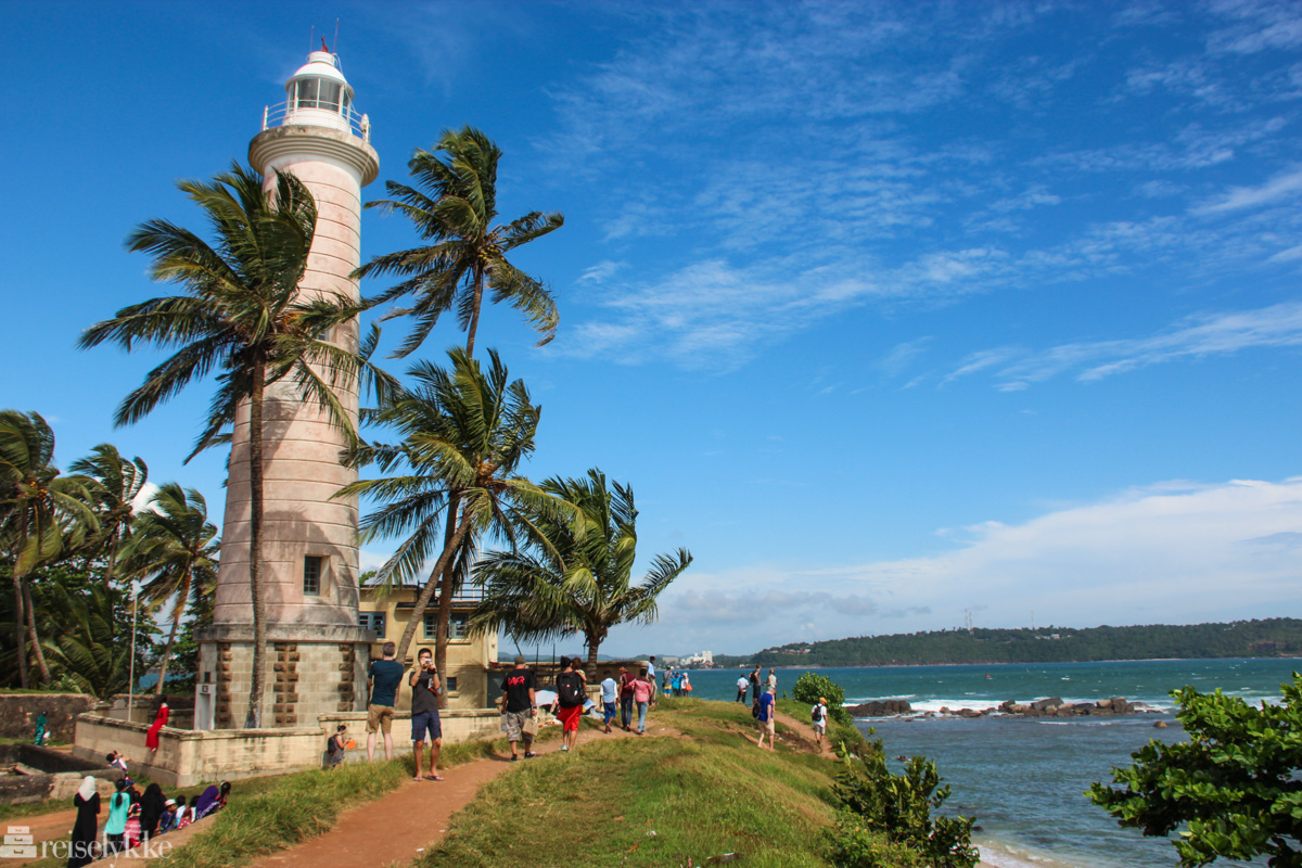 Fyrtårn og hav i unesco-byen Galle på Sri Lanka