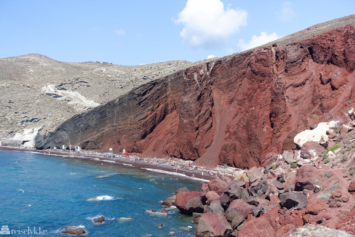 Rød strand på Santorini