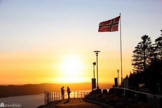 Fløyen, Bergen i solnedgang
