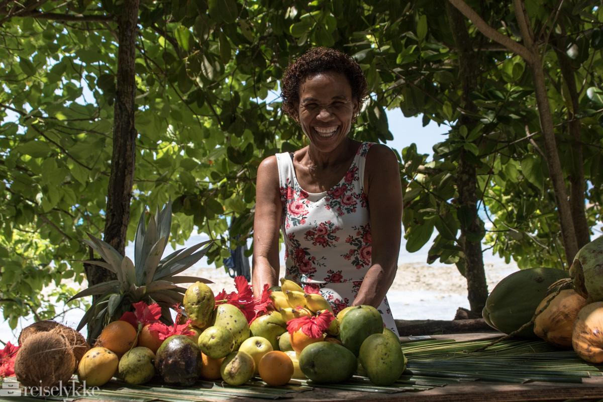 Fruktselger på La Digue, Seychellene