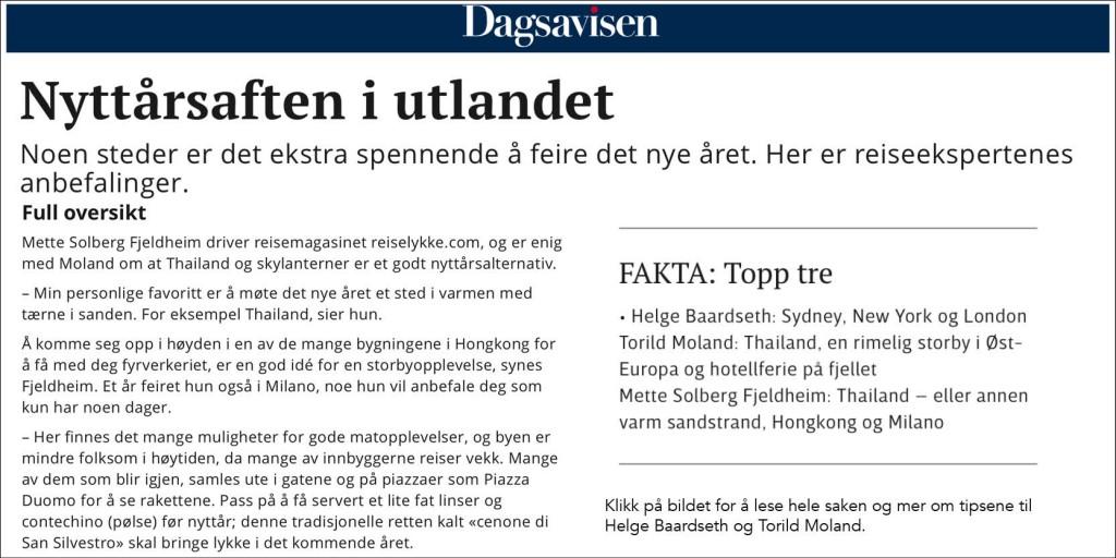 Intervju i Dagsavisen_nyttårsaften i utlandet