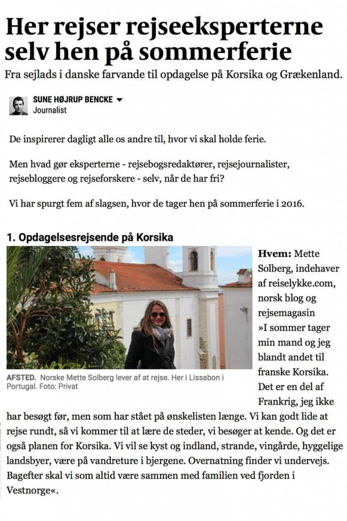 Reiselykke i Politiken: utklipp fra intervjuet