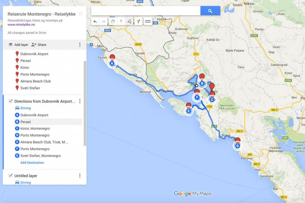 Montenegro: kart over kjørerute