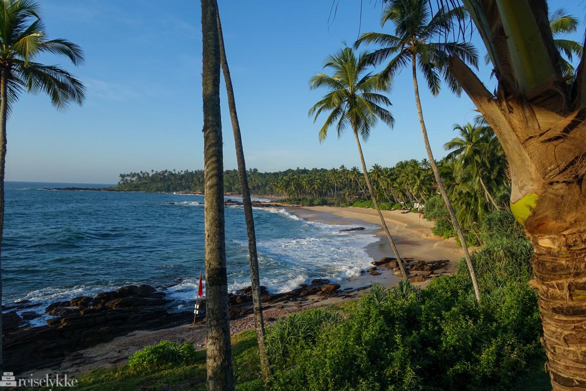 Solnedgang ved strand i Tangalle, Sri Lanka